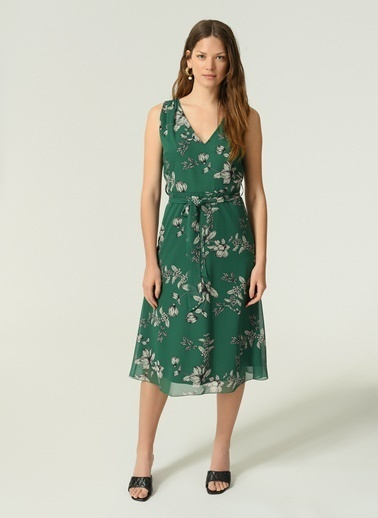 NGSTYLE NGSTYLE Kadın Çicekli Desenli Günlük Şifon Elbise Yeşil